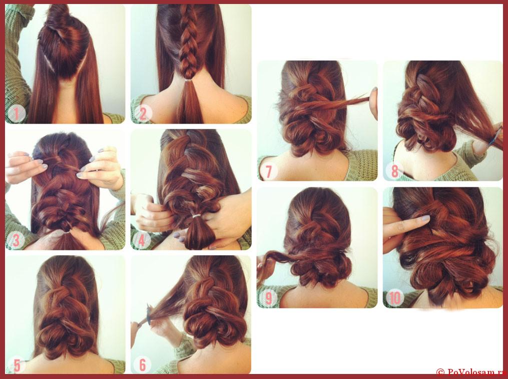 Пошаговые прически для средних волос с картинками
